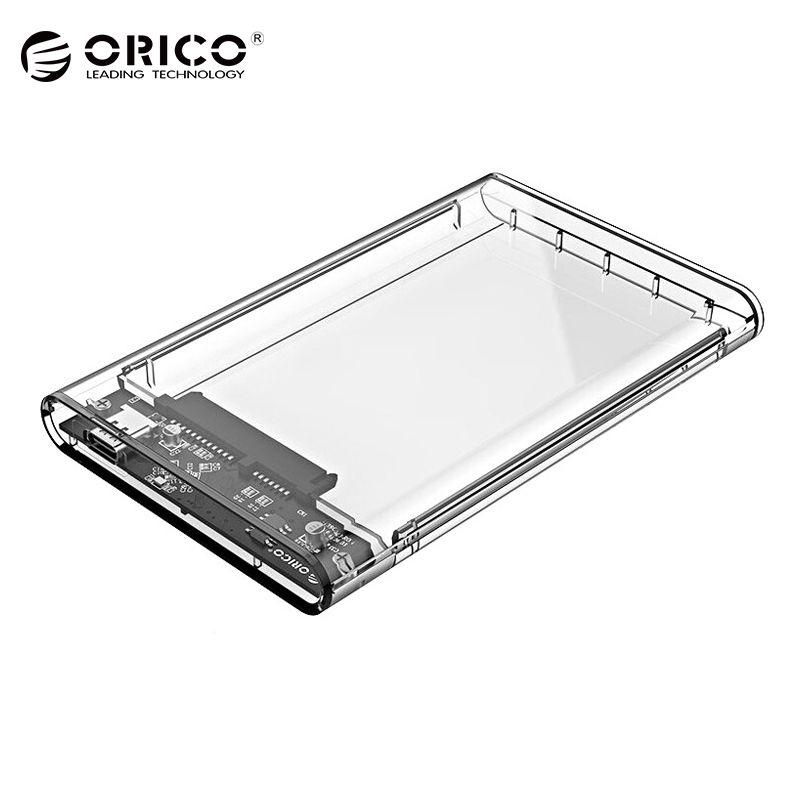 ORICO 2,5 zoll Transparent HDD Fall USB3.0 Sata 3,0 Tool Free 5 Gbps Unterstützung UASP Protokoll Festplattengehäuse-(2139U3)