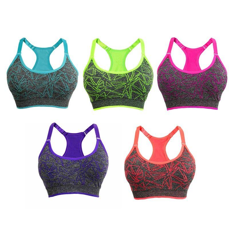 Unterwäsche frauen schnell trocknend sport-bh laufweste fitness gym yoga drahtlose push-up-stoßfest crop tops