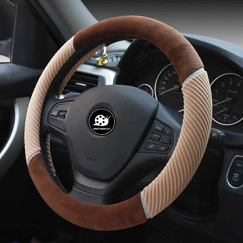 DONYUMMYJO 2018 New arrival Non-slip Plush Car Steering Wheel Cover Size 38CM black/gray/purple/brown