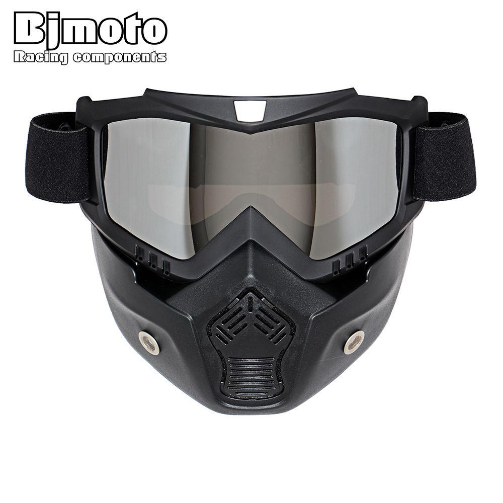 Vente chaude Modulaire Masque Lunettes Détachables Et Bouche Filtre Parfait pour Moto à Visage Ouvert Demi-Casque ou Vintage Casques