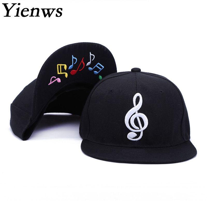 Yienws hommes os Gorras Planas Snapback musique Hip Hop casquettes de Baseball femmes hommes chapeaux plats noir à bord droit casquette complète YIC517