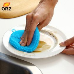 ORZ Silicone Brush Magic Dish Bowl Pot Pan Wash Cleaning Brushes Cooking Tool Cleaner Sponges Scouring Pads Kitchen Accessories