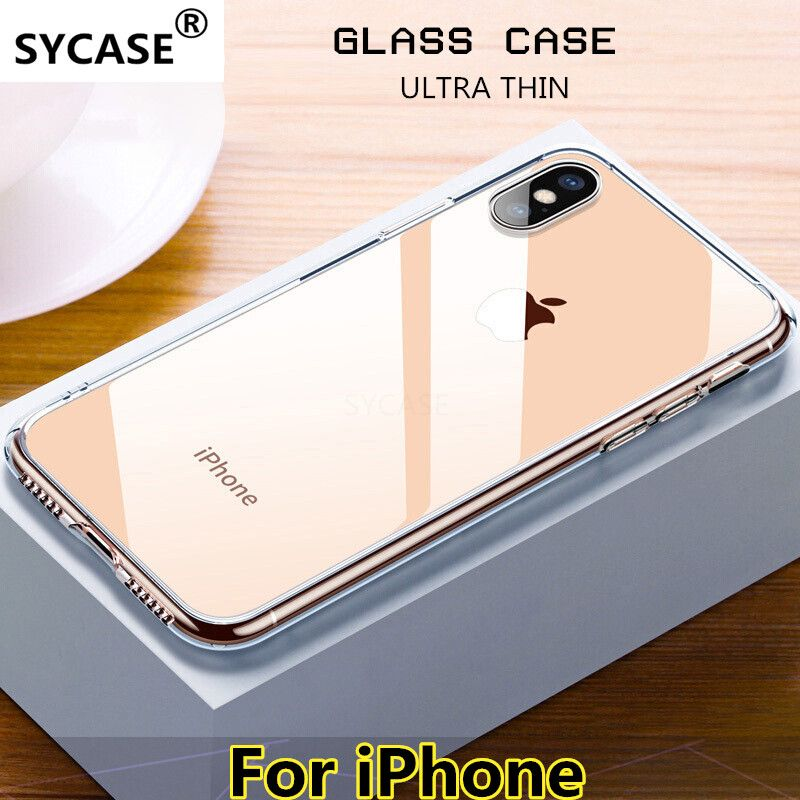 SYCASE Premium Glass Case For iPhone XS XR XS Max Cases Transparent Silicone Edge Glass Back Cover Case For iPhone 6 6S 7 8 Plus