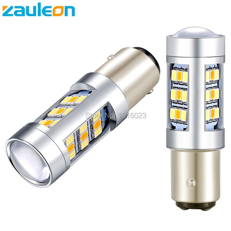 Zauleon 2 pcs Super Bright Double Couleur Blanc Jaune Feux Diurnes 1157 BAY15D LED Switchback Ampoule Avant Clignotants lumière