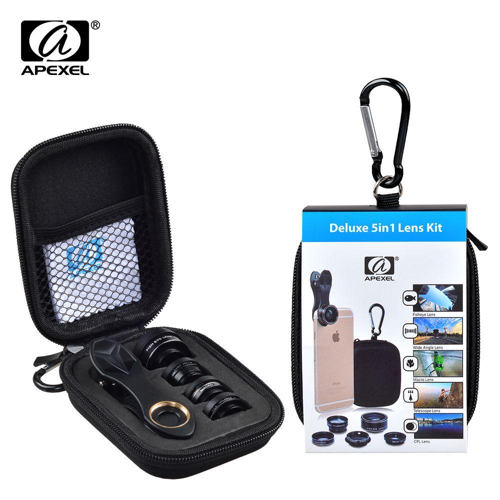 Apexel 5 en 1 Kit objectif caméra HD objectif Fisheye + 0.63x grand Angle + objectif Macro 15x + 2X téléobjectif + objectif CPL pour iPhone Samsung DG5
