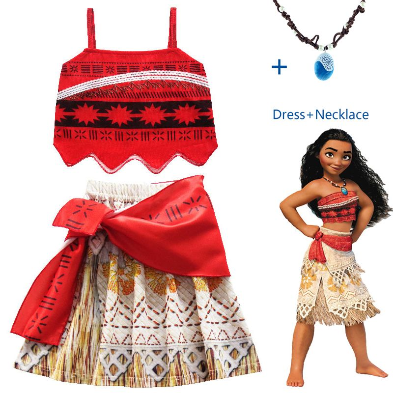 Moana Christmas Costume with Necklace Princess Cosplay Costume for Children dress for Xmas Costumes for Kids Girls Navidad Gifts
