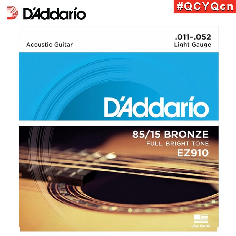 D'Addario EZ910 Great American Made 85/15 Bronze Acoustic Guitar Strings, Light, 11-52