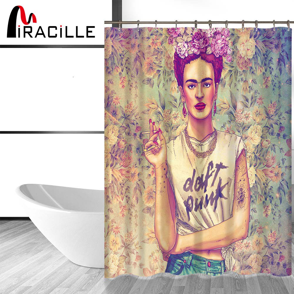 Miracille Frida Kahlo Printed Bath Shower Curtains With Waterproof Polyester Fabric Curtain For The BathRoom with 12 Hooks 2Size