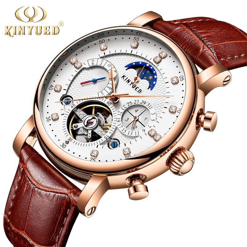 KINYUED <font><b>Moon</b></font> Phase Top Brand Mens Mechanical Watches Automatic Tourbillon Skeleton Watch Men Calendar Relogio Masculino dropship
