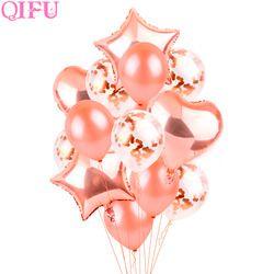 QIFU Rosa estrella de oro corazón Foil globos aire globo de helio decoración de la boda decoración de la fiesta del cumpleaños del bebé ducha
