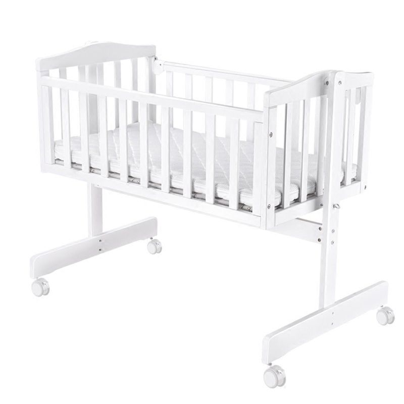 Crib European solid wood baby shaker newborn cradle bed multi-function BB bed with mosquito net