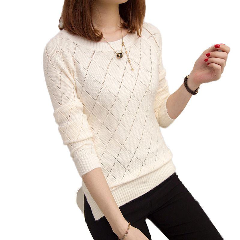 Для женщин S Свитеры для женщин 2017 осень-зима Свободный пуловер тянуть роковой сбоку Разделение О-образным вырезом вязаный свитер Для женщи...