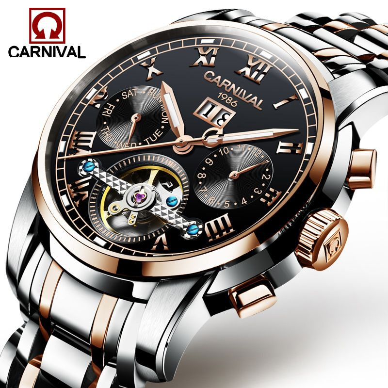 Carnival Watch Men tourbillon Automatic Mechanical Rose Gold Stainless Steel Waterproof multifunction Black Dial Watches