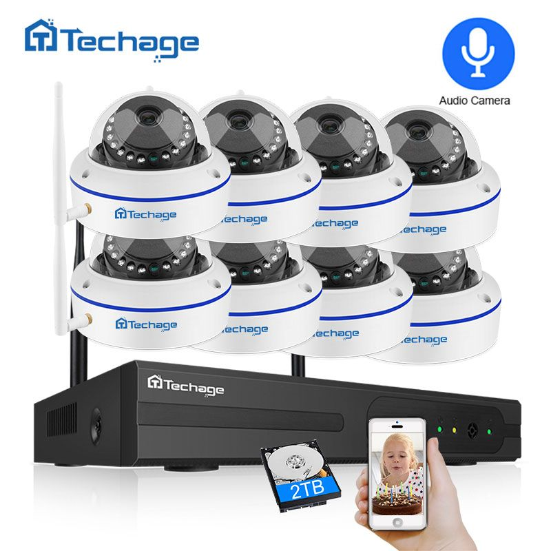 Techage 8CH 1080 P Wireless Security Kamera System 2.0MP NVR CCTV Indoor Dome WiFi IP Kamera IR Nacht P2P Video überwachung Set