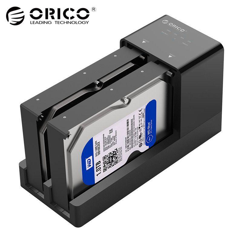 ORICO 2,5 3,5 SATA HDD Gehäuse Docking Station Offline Klon Super Speed USB 3.0 Festplatte Unterstützung 10 tb 2 Bay schwarz 6528US3-C