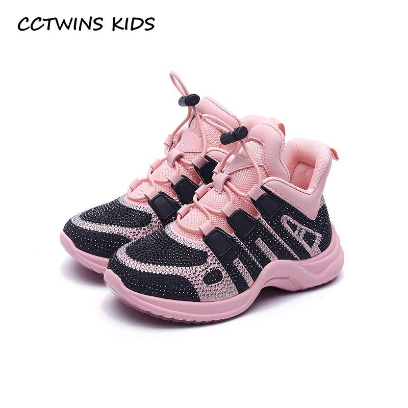 CCTWINS KINDER 2018 Herbst Kinder Mode Slip-Auf Sport Turnschuhe Kid Strass Casual Schuhe Baby Mädchen Mesh Schwarz Marke trainer