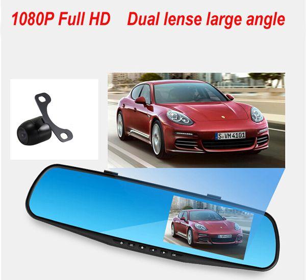 2016 Promotion Dual Camera Car Dvr Camera Rearview Mirror Dash Cam G-Sensor HD 1080P 4.3'' 140 Degree High Quality Free Shipping