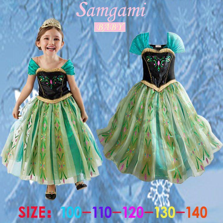 Samgami детские детское платье для девочек платье принцессы Эльзы платье принцессы Анны летнее платье без рукавов платье принцессы костюм Анн...