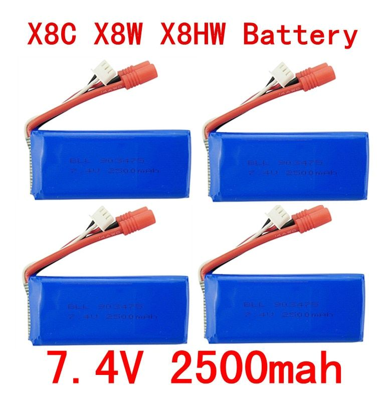 BLL 4PCS New big battery Syma X8C X8W X8G X8HC X8HG X8HW 2S 7.4V 2500mAh 25C Lipo Battery Helicopter Battery