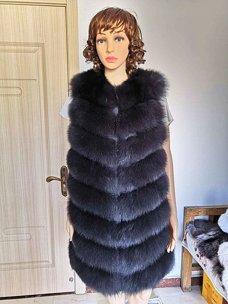 Frauen Echt Fox Pelz Weste Weiblichen Echtem Mantel Leder Jacke Warme Herbst Winter Dame Giles Natürliche Fuchs Pelz Weste lange