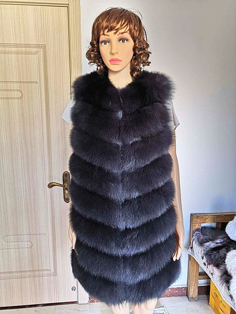 Women Real Fox Fur Vest Female Genuine Coat Leather Jacket Warm Autumn Winter Lady Giles Natural Fox Fur Waistcoat long