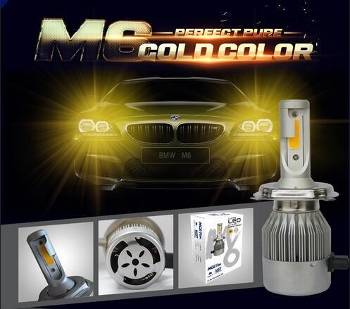 PANYUE Super Helle COB 3000 Karat Gelbgold Farbe H1 H3 H4 H7 H8 H9 H11 9005 HB3 9006 HB4 Auto LED-Licht Scheinwerferlampe PLAY-60W 7600LM