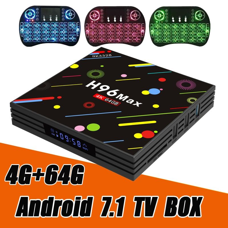 RUIJIE 4G 64G H96 Max H2 Android 7.1 TV Box RK3328 Quad Core 4K Smart Tv 2.4G/5G WiFi USB 3.0 Bluetooth 4.0 Media Player