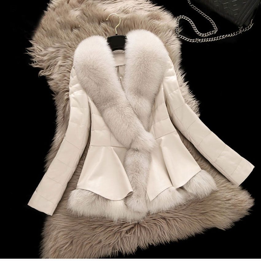 2017 New Winter Parka Real Fox Fur Coat W Short Style Clothing Large Collar Sheepskin Genuine Leather Down Outerwear Jacket