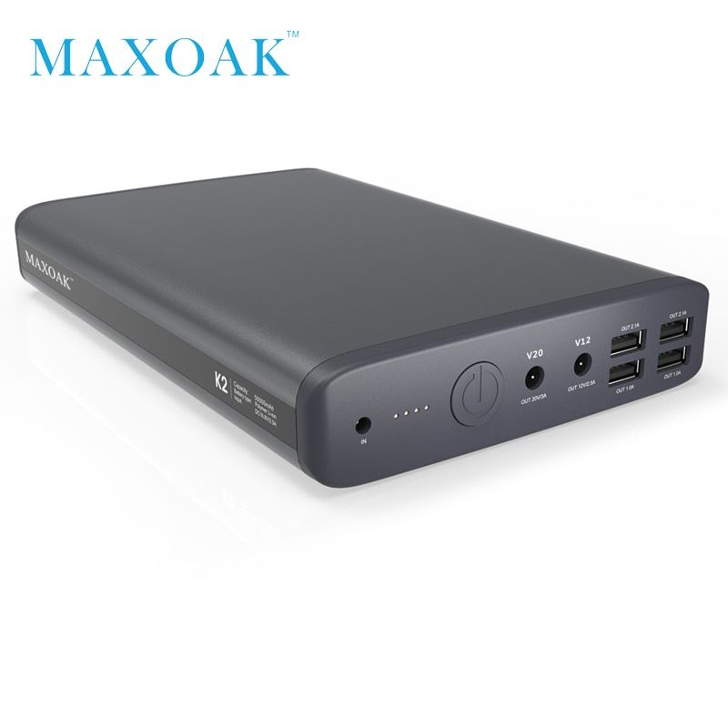 MAXOAK power bank 50000mah 6 output port DC12V/2.5A DC20V/5A notebook power bank can charger laptop, tablet,mobile phone