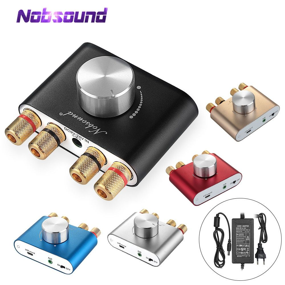 2019 dernière Nobsound Mini Bluetooth 5.0 TPA3116 amplificateur numérique HiFi stéréo amplificateur de puissance 50W * 2 avec adaptateur secteur