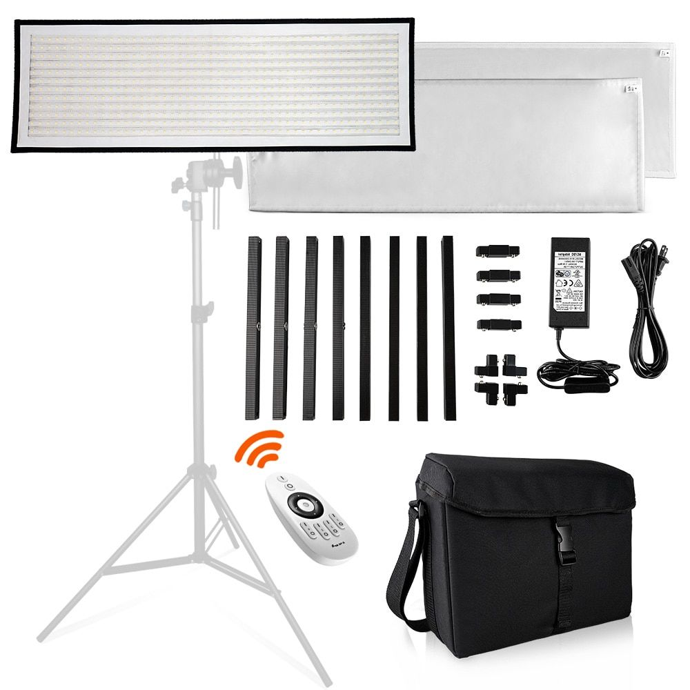 Travor FL-3090 1x3' 30x90cm Daylight LED Light Panel 5500K Dimmable Photography Light with Soft Cloth Remote Control and Bag