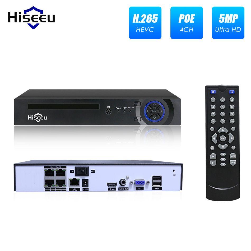 Hiseeu 4/8 Channel PoE NVR For 1080P POE IP Camera system Surveillance Camera H.265 48V 802.3af ONVIF CCTV NVR DVR XMEYE APP