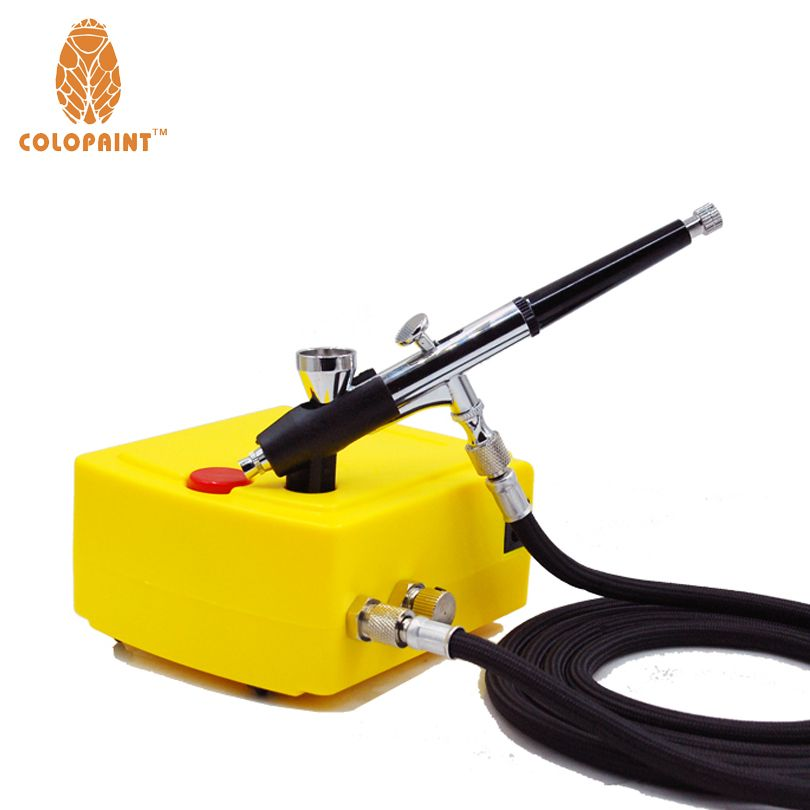 Colopaint 0.2mm 2CC Nail Art Airbrush Compressor Kit For Nail Art Makeup Body Paint 100-240V