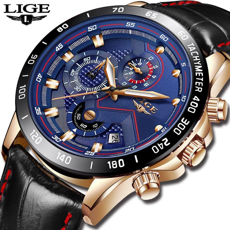 LIGE Mens Watches Top Brand Luxury Quartz Watch Gold Men Casual Leather Military Waterproof Sport Wristwatch Relogio Masculino