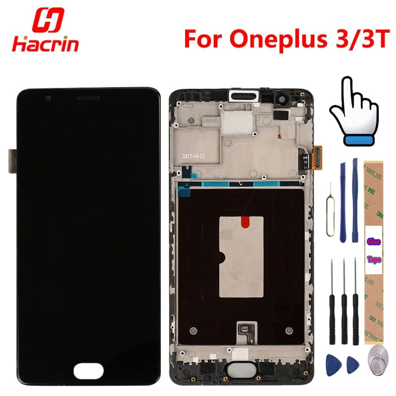 OnePlus 3T Screen with Frame OnePlus 3T lcd display touch screen digitizer assembly replacement for oneplus 3 one plus three