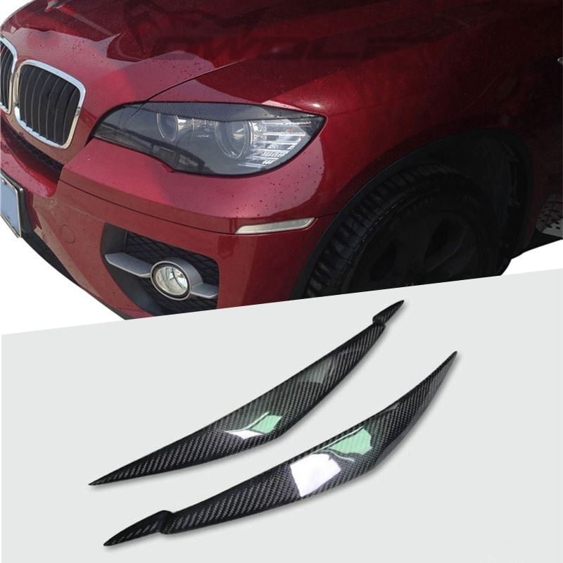 100% Rear Carbon Fiber Headlights Eyebrows Eyelids for BMW E71 X6 X6M Car Styling Front Headlamp Eyebrows Trim Cover Accessories