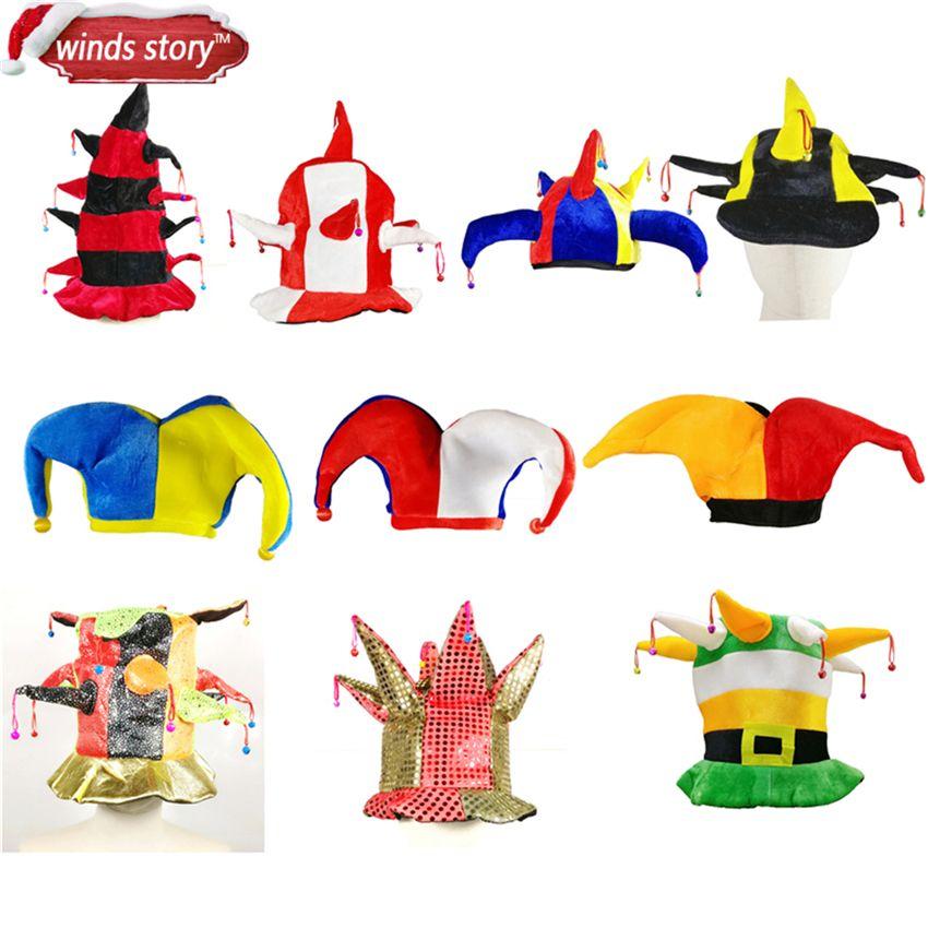 1 Pièces Multicolore Clown Bouffon Cirque Jokers Chapeau avec Bells Party Costume Accessoires fantaisie robe partie de Mardi Gras Carnaval Chapeau