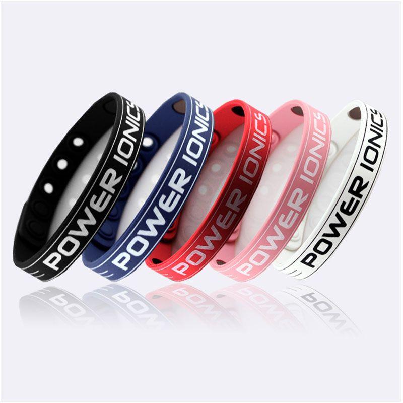 Bracelet de Bracelet en Silicone de basket-ball Power Ionics Style classique Sport titane 2000 ions équilibre des couleurs saines du corps
