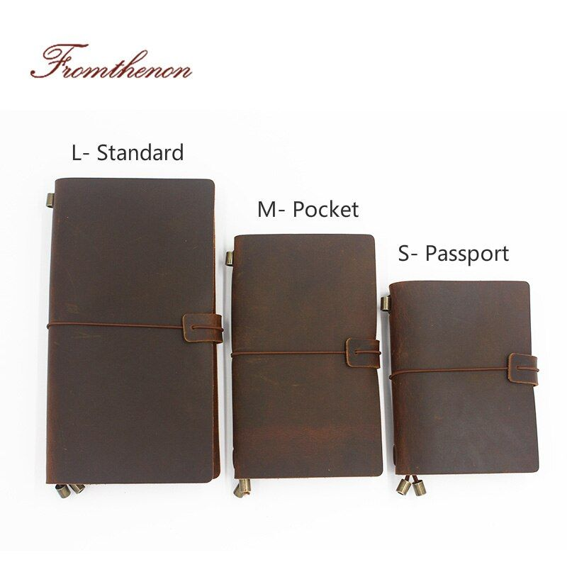 Vintage Traveler's <font><b>Notebook</b></font> Handmade Journal Genuine Leather Cowhide Diary Spiral Loose Leaf Now BUY 1 Book Get Accessories