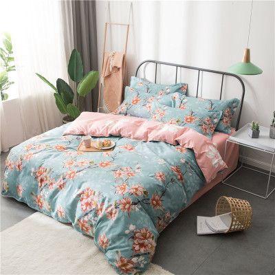 4pcs Home Spring Flower Printed Cotton Bedding Sets Bed Set Duvet Cover Bed Sheet Cover Set
