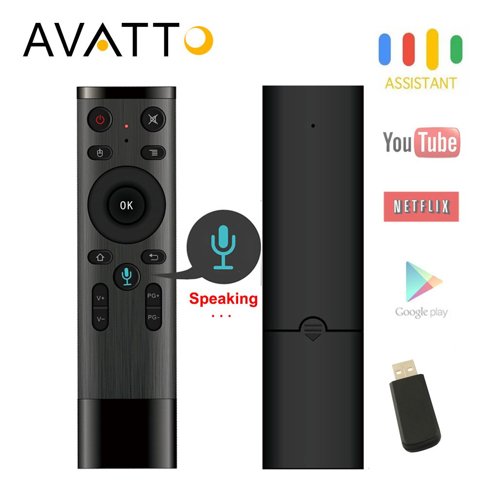 AVATTO Q5 Voice Control Fly Air Mouse For Gyro Sensing Game,2.4GHz Wireless Microphone Remote Control For Android TV Box,PC