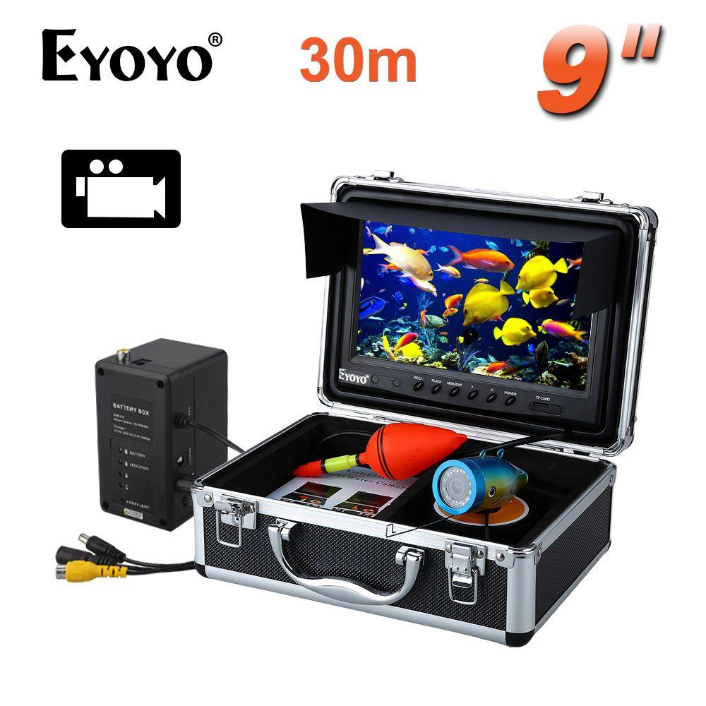 Eyoyo Original 30 Mt Angeln Kamera Unterwasser Fisch Finder 9 LCD-Monitor HD 1000TVL Video Kamera DVR Videoaufzeichnung weiße LED 8 GB