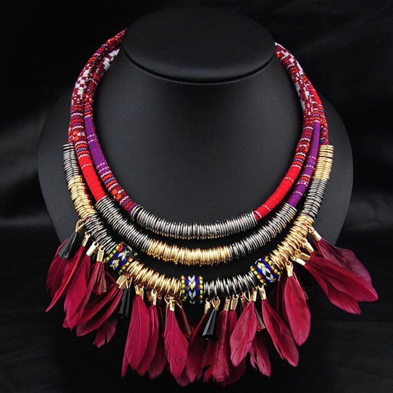 collier ethnique bohemian necklace 2017 vintage boho collares leather cord indian ethnic jewelry big chunky feather necklace