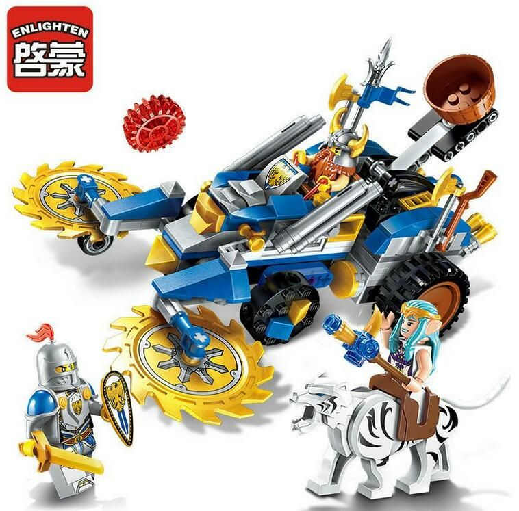 Enlighten NEW 2308 Building Block War of Glory Castle Knights Dwarven Chariot 3 Figures 243pcs Educational Bricks Toy Boy Gift