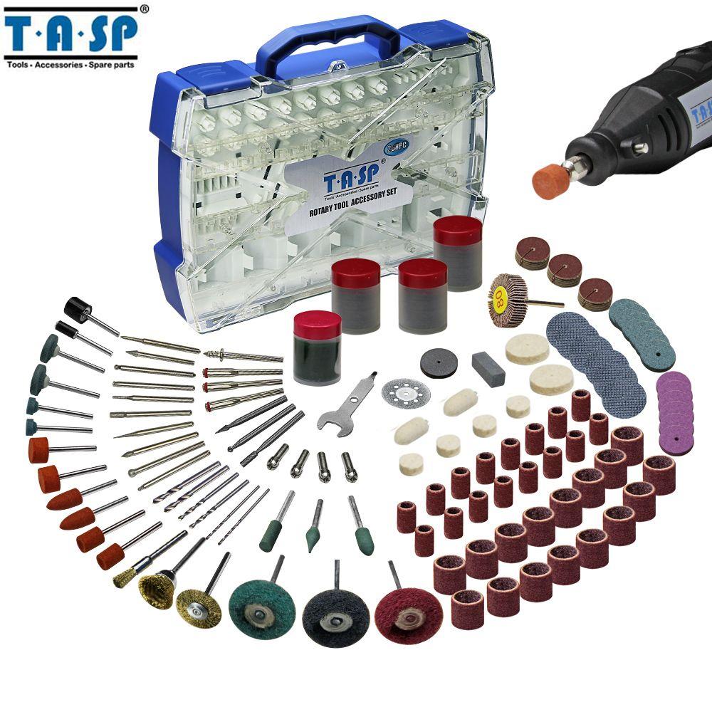 TASP 268 pièces Mini perceuse électrique accessoires Set outils abrasifs Compatible avec Dremel outil rotatif pour meulage polissage