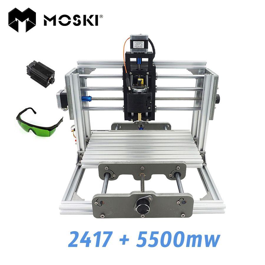 MOSKI, 2417 + 5500 mw, bricolage machine de gravure, mini PcbPvc Fraiseuse, Métal Bois Sculpture machine, 2417, grbl contrôle