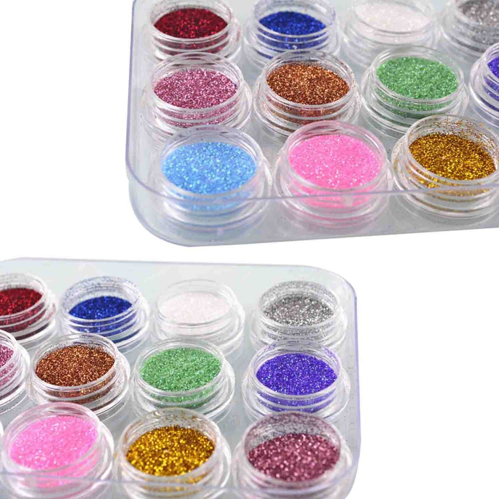 High Quality Nail Decorative Art Loose Powder DIY Nail Fine Silver Loose Powder 12 Color Suit