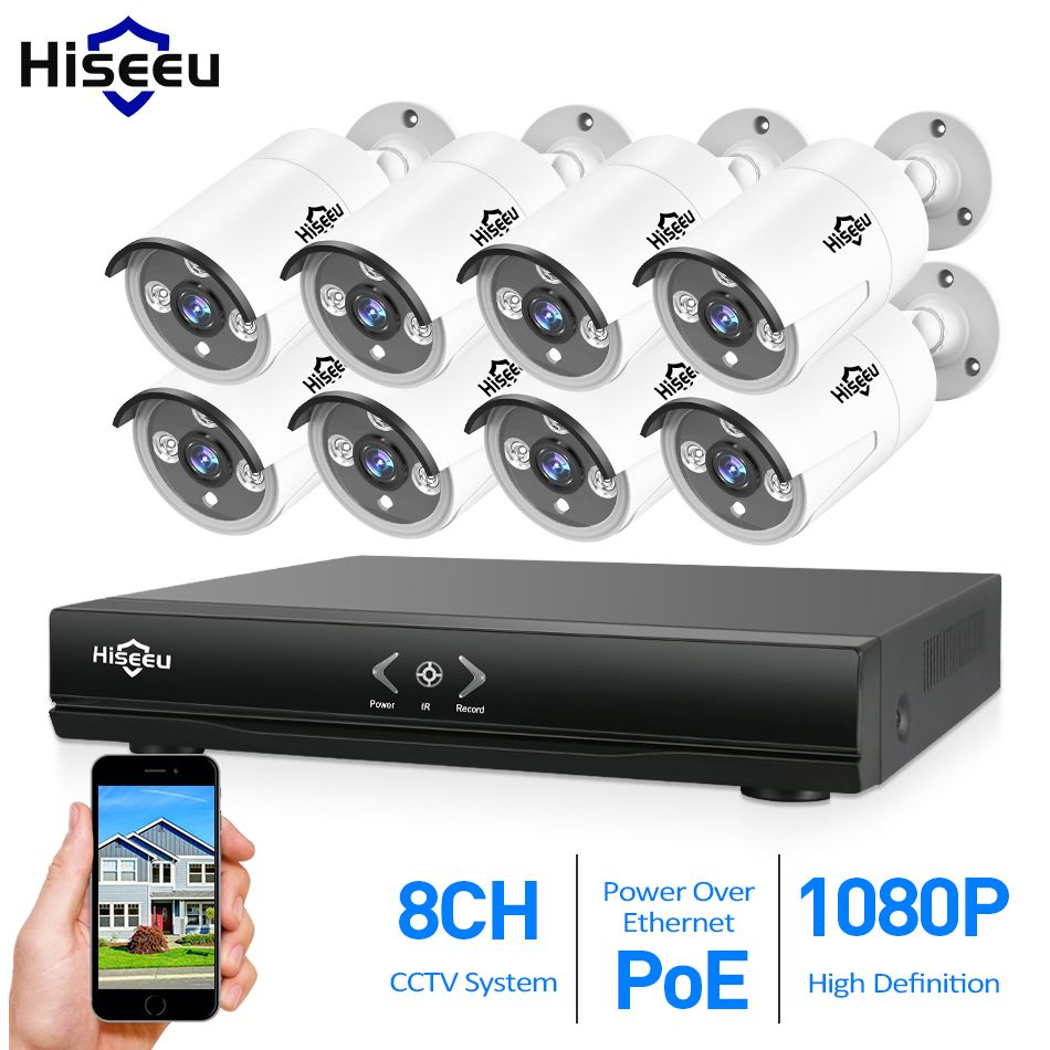 Hiseeu 8CH PoE 1080P NVR CCTV System 2.0MP Outdoor IP Camera 1080P NVR Recorder Video Security Camera Surveillance System 3T HDD