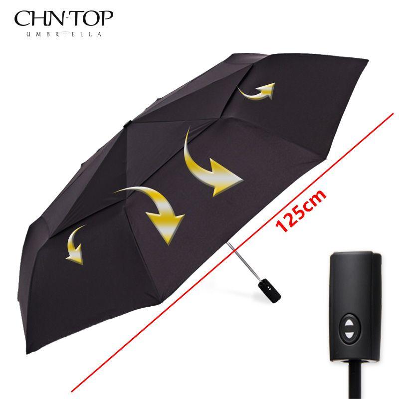 125 cm Grande Automático de Calidad de Doble Capa Mujeres Lluvia Paraguas 3 Veces Paraguas A Prueba de Viento Al Aire Libre Grande Hombre Mujer Paraguas Sombrilla