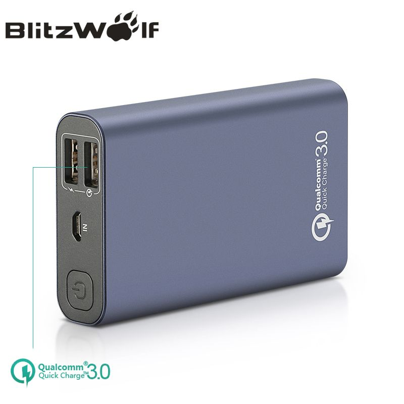 BlitzWolf BW-P3 Original Universal 10000mAh 18W QC3.0 Quick Phone Charger 3.0 Dual USB Port Power Bank External Battery